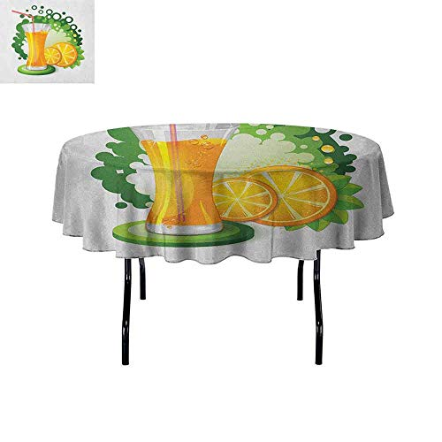 DouglasHill Green and Orange Easy Care Leakproof and Durable Tablecloth Glass of Orange Juice with Green Toned Background with Fruit Slices Leaves Outdoor Picnic D59 Inch Multicolor