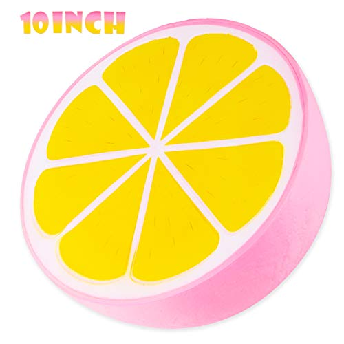 BeYumi Slow Rising Toy, 10 Inch Jumbo Pink Lemon Squishy Cream Scented Simulation Cute Fruit Squeeze Toys Collection Gift, Decorative Props Large Stress Relief