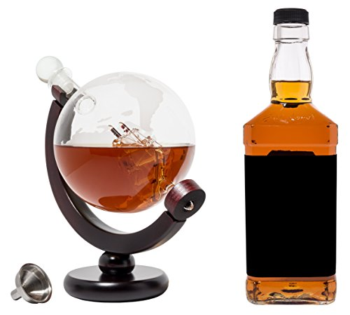 BarMe 850ml Whiskey Globe Decanter with Dark Finished Wood Stand and Bar Funnel by BarMe (Image #4)