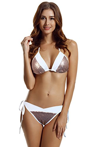 zeraca Women's Sequins Triangle Bikini Swimsuits (M10, Rose Gold)