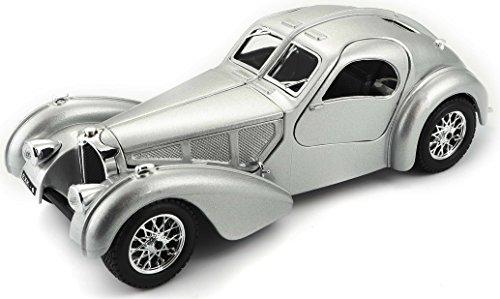 Bburago Bugatti Atlantic Diecast Model Car (1:24 Scale), Silver Silver Diecast Model Car