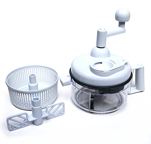 Kitchen + Home Food Chopper - Miracle Chopper 4 in 1 Salsa Maker, Food Chopper, Mixer, Blender and Salad Spinner (Miracle Chopper Salsa Maker)