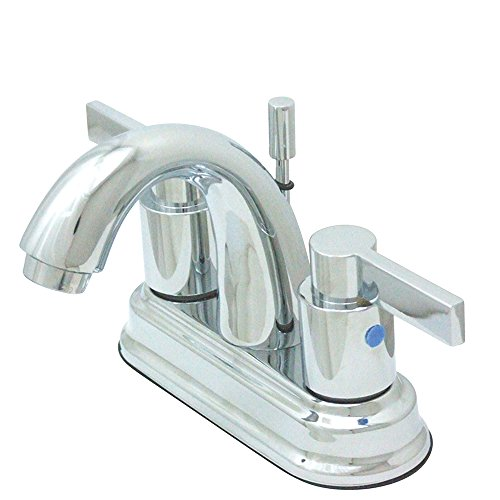 Kingston Brass KB8611NDL 3-7/8-Inch in Spout Reach NuvoFusion 4-Inch Centerset High Rise J Spout Lavatory Faucet with Brass Pop-Up, Polished Chrome