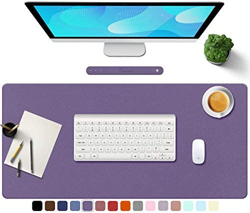 "TOWWI PU Leather Desk Pad with Suede Base, Multi-Color Non-Slip Mouse Pad, 32"" x 16"" Waterproof Desk Writing Mat, Large Desk Blotter Protector (Violet)"