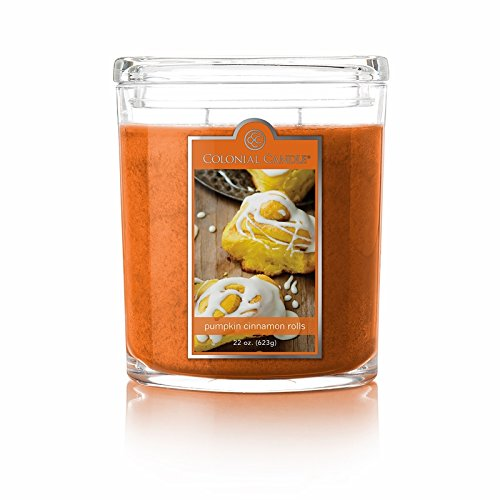 Colonial Candle Pumpkin Cinnamon Rolls Oval Jar Candle, 22 oz. , Orange