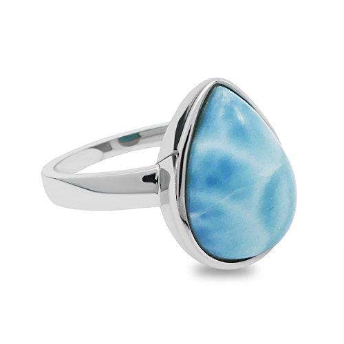 Light Blue Larimar Ring - 4.4 CT Pear Cabachon, 925 Sterling Silver (8)