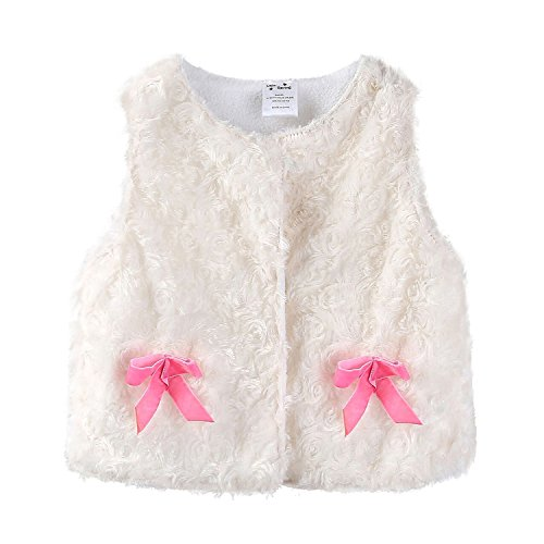 Mud Kingdom Cute Toddler Girl Vest Jacket White 24 Months Fleece