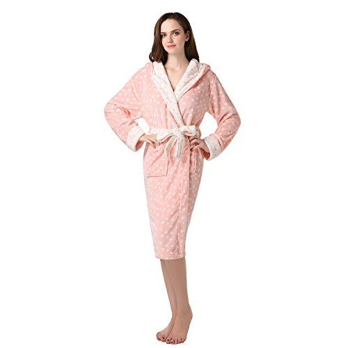 (Richie House Women's Polka Dot Coral Fleece Robe RHW2235-A-XL Peach)