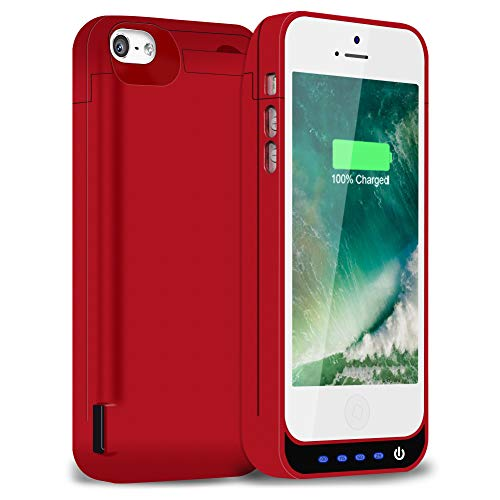 iPhone 5/5S/5C/SE Battery Case 4800mAh, Gasopic Portable Charger Case Rechargeable Extended Battery Pack Protective Backup Charging Case Cover for Apple iPhone 5/5S/5C/SE-Red