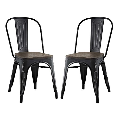 Modway Promenade Stackable Modern Aluminum Two Bistro Dining Side Chair Set With Bamboo Seat in Black