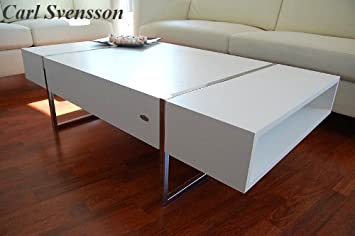 Carl Svensson Design Couchtisch Tisch Wohnzimmertisch N-111 Ablagefächer  (Weiß)