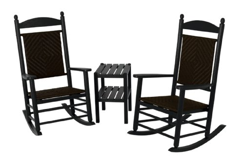 (POLYWOOD PWS141-1-FBLCA Jefferson 3-Piece Woven Rocker Chair Set, Black Frame/Cahaba)