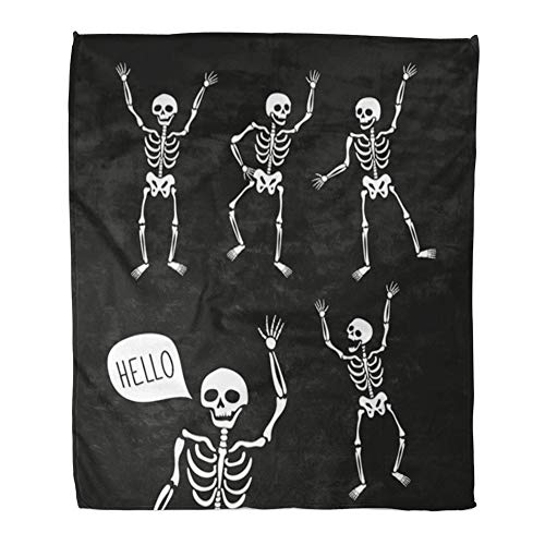 Emvency Throw Blanket Warm Cozy Print Flannel Funny Skeletons in Different Poses Speech Bubbles for Halloween Comfortable Soft for Bed Sofa and Couch 60x80 -