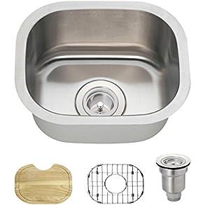 1512 18 Gauge Stainless Steel Kitchen Ensemble (Bundle - 4 Items: Sink, Basket Strainer, Sink Grid, and Cutting Board)
