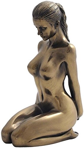 - 5.88 Inch Nude Female Statue Kneeling with Hands on Back, Bronze Color
