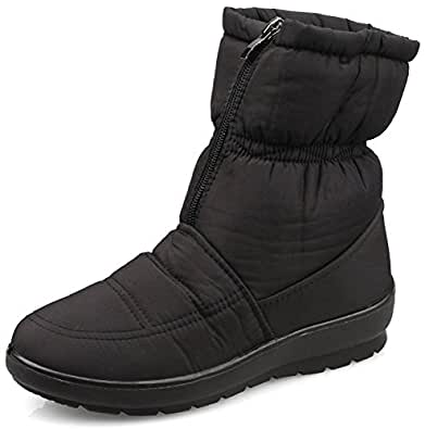 Amazon.com | MOSHU Women's Faux Fur Winter Snow Boots