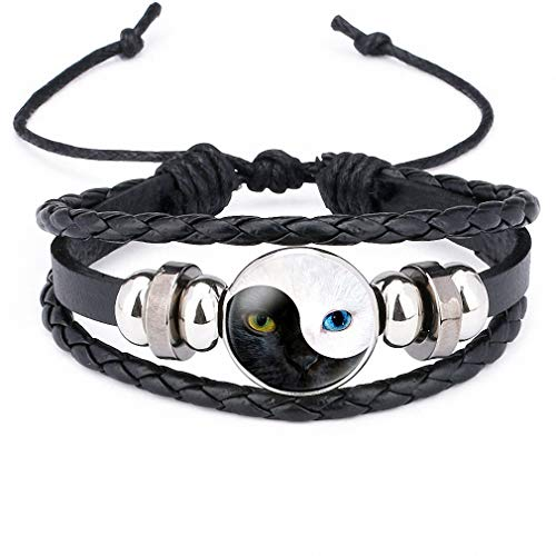 Giwotu Womens Yinyang Tai Chi Bagua Cat Face Eyes Leather Bangle Black and White Women Charm Multi-Layer Bracelet for Men Jewelry 12012201