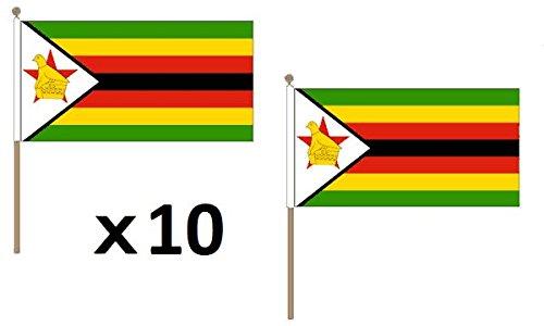 (AZ FLAG Zimbabwe Flag 12'' x 18'' Wood Stick - Zimbabwean Flags 30 x 45 cm - Banner 12x18 in with Pole)