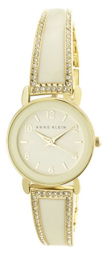 Gold Tone Ivory Dial - Anne Klein Women's Cream Dial Gold Tone Metal Bangle Bracelet Watch AK/2582IVGB