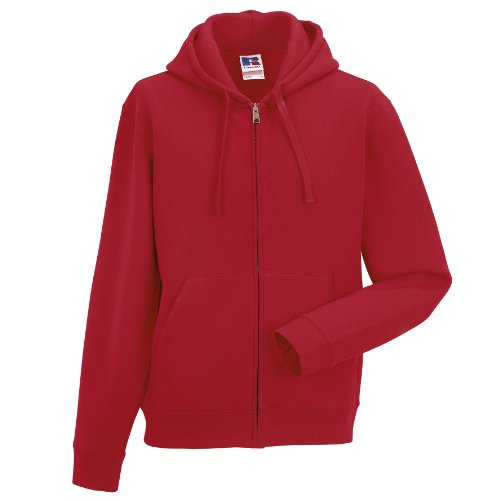Russell Mens Authentic Full Zip Hooded Sweatshirt/Hoodie (S) (Classic Red)