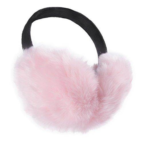 ChikaMika Girls Earmuffs Winter Large Super Warm Foldable Pink Ear - Earmuffs Pink