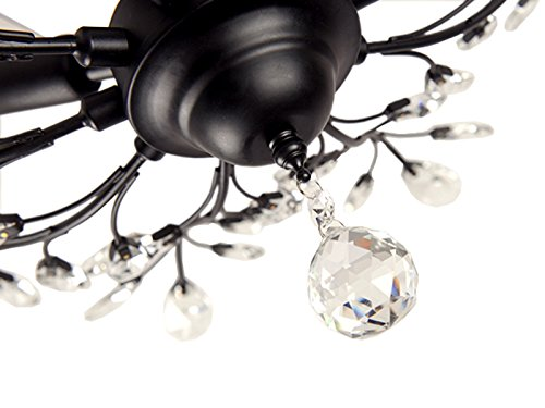 SEOL-LIGHT Vintage Large Crystal Branches Chandeliers Black Ceiling Light Flush Mounted Fixture with 5 Light 200W Large Size by SEOL LIGHT (Image #3)