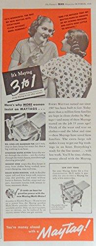 Maytag Washer. Print Ad. Color Illustration. (gas motor) Original 1947 Collier's Magazine Art