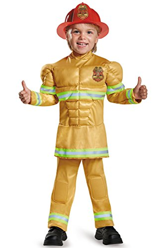 Disguise Fireman Muscle Toddler Costume-