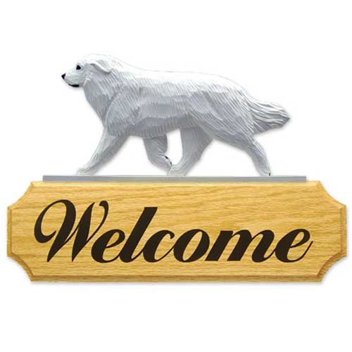 Michael Park Great Pyrenees Dog In Gait Welcome Sign (Great Pyrenees Welcome Sign)