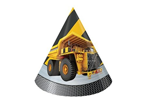 Club Pack of 96 Children's Construction Zone Design Paper Birthday Party Hats (Paper Hats Christmas Construction)