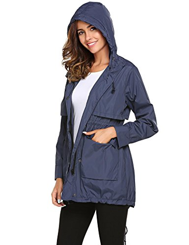Meaneor Lightweight Raincoat with Hoodie Jackets Champlain Drawstring Sleeve Long Women color Solid rxrO07gw