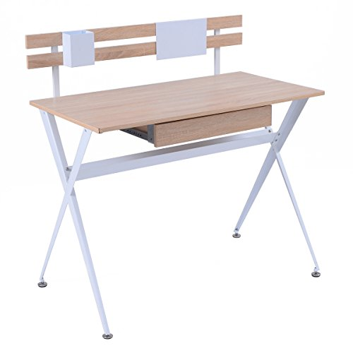 TANGKULA Computer Desk Wood Top Writing Desk with Drawer Home Office Furniture by TANGKULA