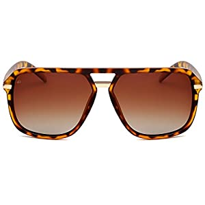 "PRIVÉ REVAUX ICON Collection ""The Bruce"" Handcrafted Designer Polarized Aviator Sunglasses For Men & Women (Tortoise)"
