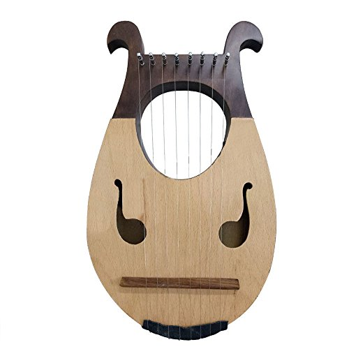 Lyre Harp 8 Strings Two Tone Color/Lyra Harp 8 Metal Strings + Carrying Case by High Scope Enterprises