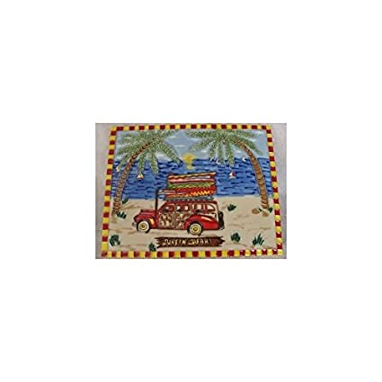 Surfin Safari Woodie palmera tabla de surf Wall Art decorativo de cerámica para azulejos 8 x