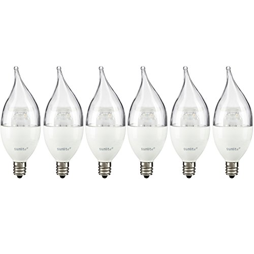 Sunlite 40318-SU LED Chandelier Flame Tip 5W Light Bulb Dimmable, Energy Star, 2700K Warm White, Candelabra Base 40 Equivalent-6 Pack Clear