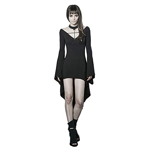 Womens Sexy Witch (Punk Sexy Dark Witch Dresses Women Vintage Black Fashion Long Sleeve Dresses (M-L, Black))