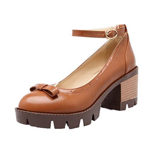 AgooLar Damen Mittler Absatz Schnalle Mikrofaser Schließen Zehe Pumps Schuhe Gelb