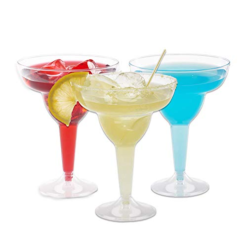 Plastic Margarita Glasses | 11.5 oz.  – 50 Pack | Hard Clear Plastic Cocktail Cups | Disposable Party Cups | Large Margarita Glasses | Plastic Cocktail Coupe | Frozen Drink Cups by Prestee