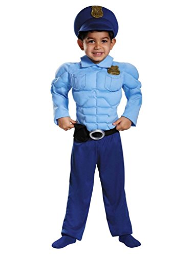 Boys Size 2T Muscle Policeman Costume with badge, Hat with attached badge, Belt
