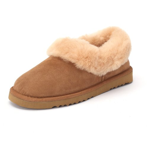 Sheep Touch Womens Balm Twin-Faced Sheepskin Closed-Back Slippers Chestnut rEwmgShrU