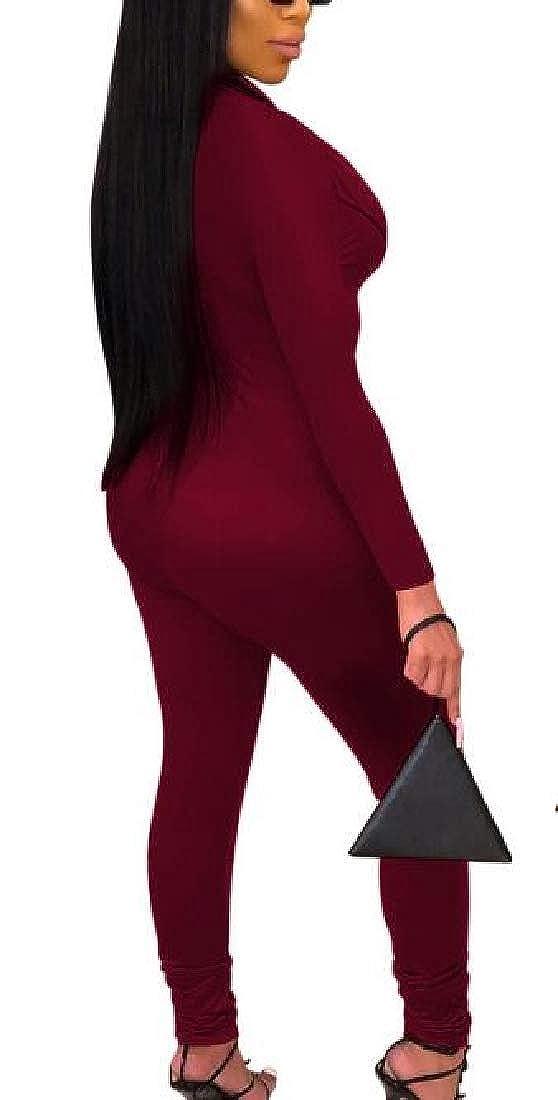 UUYUK Women Stylish Slim Club Zipper Long Sleeve Bodycon Jumpsuits Romper