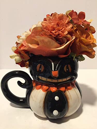 HALLOWEEN SCARY - CERAMIC HALLOWEEN BLACK CAT CHARACTER MUG VASE - FALL COLORED MIXED FLORAL - TABLETOP DECORATION - HALLOWEEN DECORATION - FALL DECORATIONS
