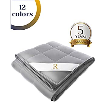 Image of Royal Therapy Weighted Blanket Adult (15lb, 48x78', Twin/Full Size Comfort) 100% Calming Cotton Blanket with Glass Beads Royal Therapy B0842YVHNJ Weighted Blankets
