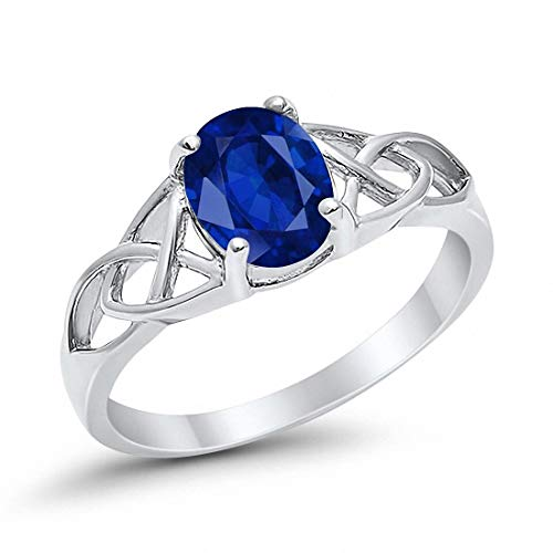 (Celtic Accent Solitaire Ring Oval Simulated Blue Sapphire 925 Sterling Silver, Size-7)