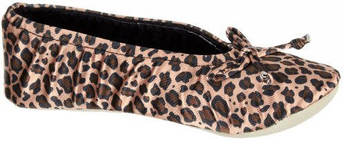 for Bow ISOTONER Suede Ballerina Sole Satin Women's with Faux Comfort and Cheetah wIzIBq0r