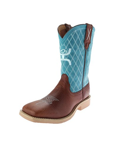 Kids Shoes Turquoise Youth Leather - Twisted X Youth Unisex Turquoise Leather Cognac Hooey Cowboy Boots 2M