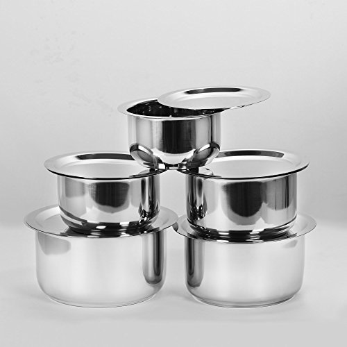 Cheap Sumeet 5 Pcs Stainless Steel Induction & Gas Stove (Tope No. 10 – 1L With Lid, Tope No. 11 – 1.4L With Lid, Tope No. 12 – 1.8L With Lid, Tope No.13 – 2.3L With Lid, Tope No. 14 – 3L With Lid)