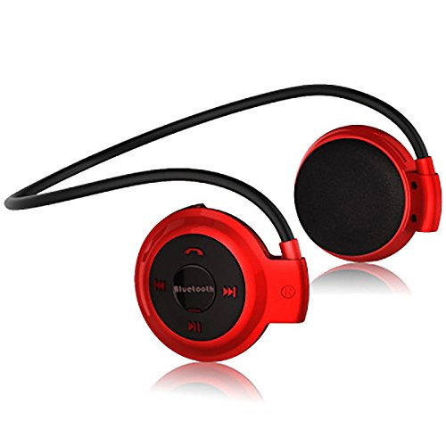 Alician Wireless Bluetooth Headphones Sports Earphone Music Stereo Earbud Micro SD Card Slot Headset red