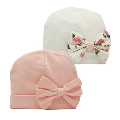 Nihao Baby Cap Newborn Infant Toddler Girl Beanie Bow Hats for Babies (Pink&White Bow, 6-12 Months)